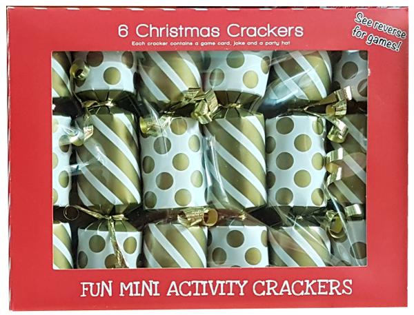 6 Mini Gold Xmas Crackers