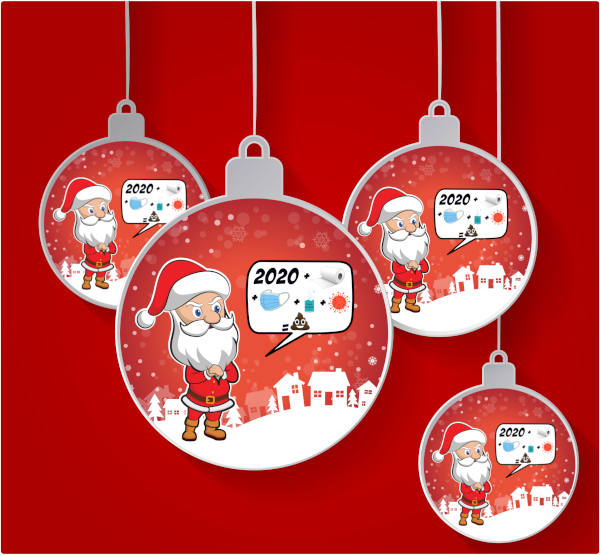 Santa 2020 Christmas Tree Bauble (Design 1)
