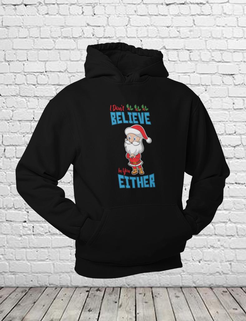 Christmas Santa Unisex Pullover Hoodie Black
