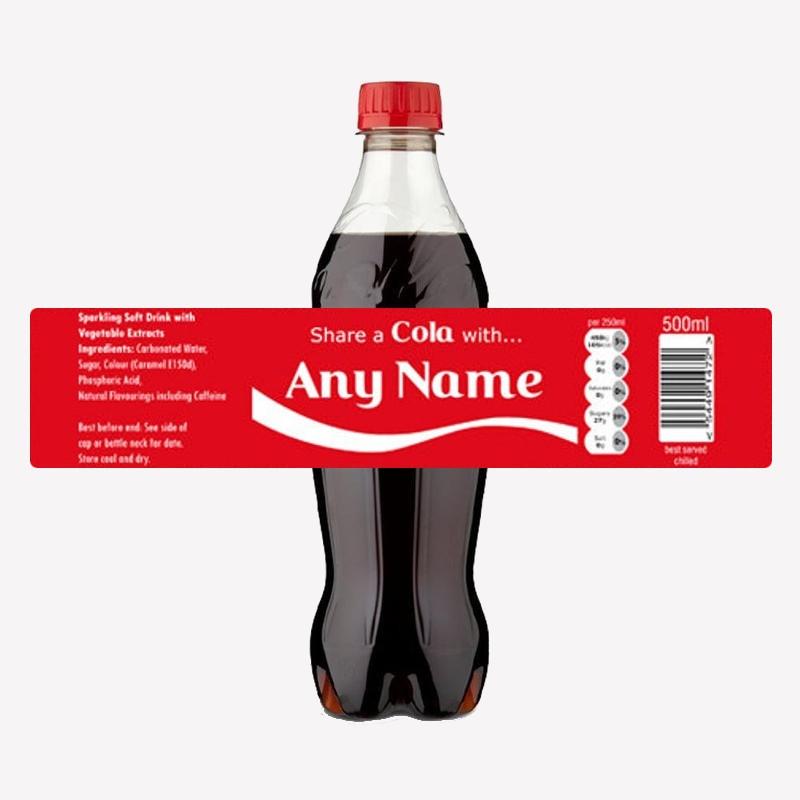 Custom 'Share a Cola' 500ml Bottle Label
