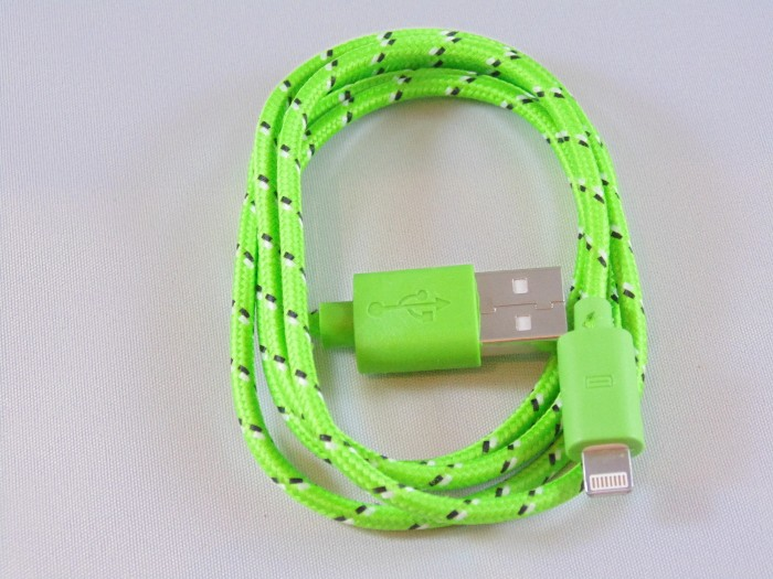 Braided 1m Green iPhone 5 Cable
