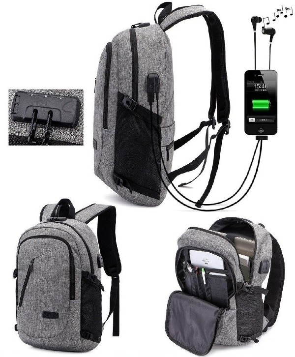 Grey Anti-Theft Locking Backpack
