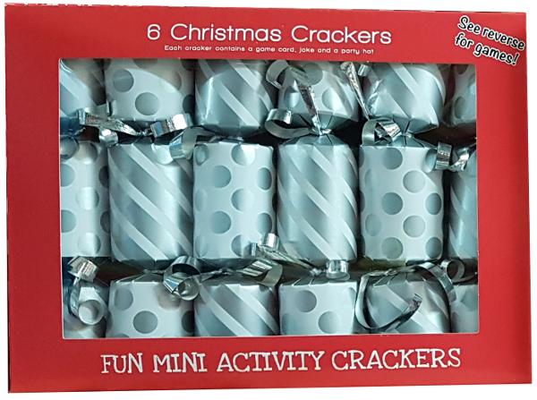 6 Mini Silver Xmas Crackers