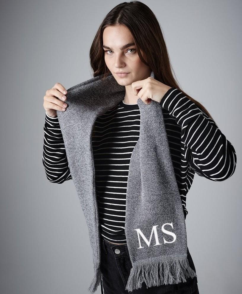 Custom Premium Initials Scarf Grey