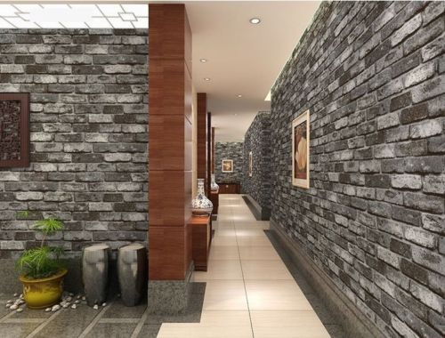 Grey 3D Brick Effect Wallpaper