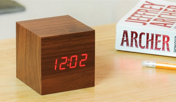 Brown Wooden Cube Clock