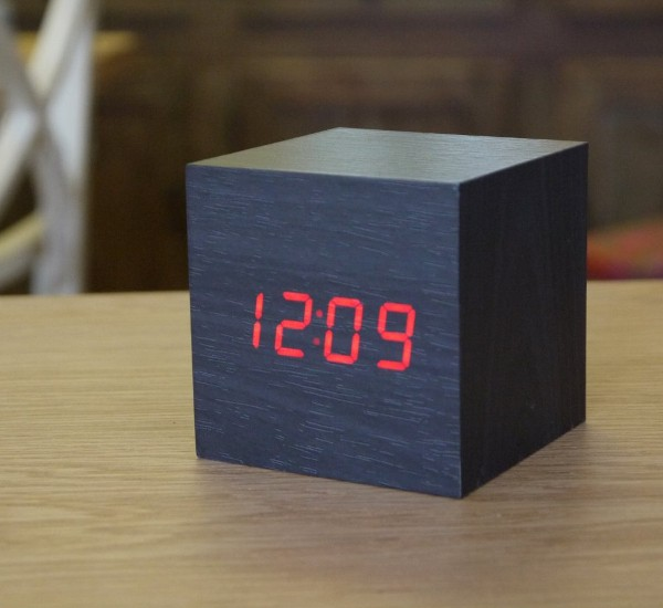 Black Wooden Cube Clock