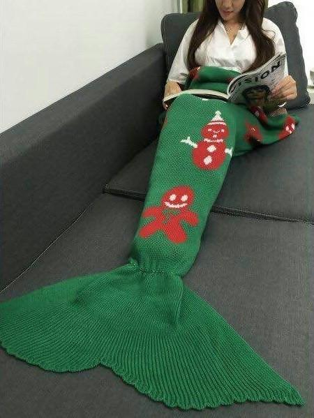 Green Xmas Mermaid Blanket