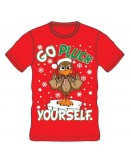 RED CHRISTMAS T-SHIRT GO PLUCK YOURSELF