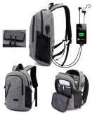 Grey Anti-Theft Locking Backpack