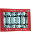 6 Mini Silver Xmas Crackers